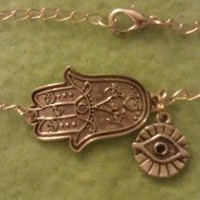 Gold Hamsa and Evil Eye Charm  Hand of by allthingswildandfree