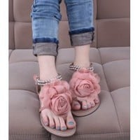 Wholesale Japan sweet camillia metal decoration clip toe flats XD-LG128-C1 pink - Lovely Fashion