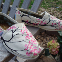 Branching out hand painted on TOMS shoesmade to by ArtfulSoles