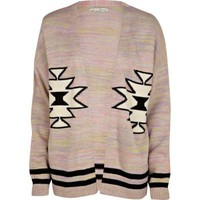 pink navajo print cardigan - cardigans - jumpers / cardigans - women - River Island