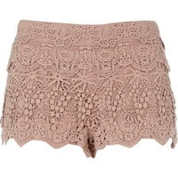 light pink crochet shorts - casual shorts - shorts - women - River Island