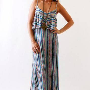 Ella Moss, Bondi Maxi with Ruffle in Azure