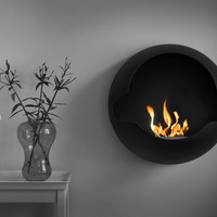 Wall-mounted vent free fireplace CUPOLA by Vauni | design Markus Grip