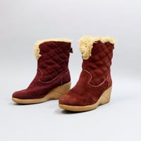 1970s Burgundy Quilted Suede Wedge Winter Boots by Pepperfields