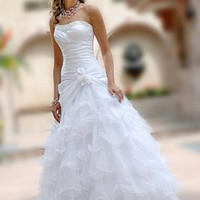 Buy Lovely Taffeta & Organza Full-length Strapless Beaded Wedding Dress/ Ball gown