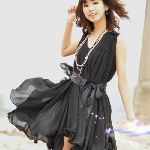 Sweet Lady V-neck Two Pieces Dress Set Black One Size | paradise - Clothing on ArtFire
