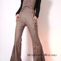 Hippie Sandy Brown Pure Virgin Wool Detachable Wide Leg Jumpsuit Romp | yystudio - Clothing on ArtFire