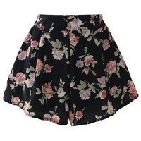 Rose Print Shorts in Black