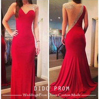 Custom Made Red Open Back Prom Dress,Mermaid Prom Dress,One Shoulder Beaded Prom Dress,Red Evening Dress,Chiffon Bridesmaid Dress