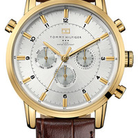 Men's Tommy Hilfiger Round Chronograph Leather Strap Watch, 44mm - Brown/ Gold