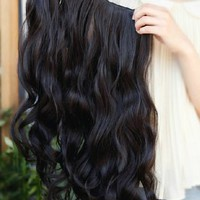MapofBeauty Beautiful Long Curly Clip-on Hair Extensions Hairpieces (Black)