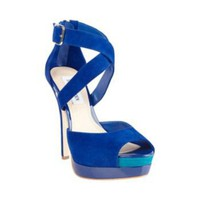 MIDNYTE BLUE SUEDE women's dress high platform - Steve Madden