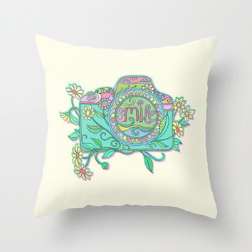 Smile for the Camera Throw Pillow by micklyn | Society6
