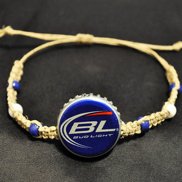 Blue Bud Light Beer Recycled Bottle Cap Hemp Bracelet, unique jewelry, hemp jewelry, bottle cap bracelet, recycled jewelry