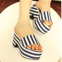 Wholesale Thick bottom stripe waterproof increased line-styled slippers CZ-0808 blue - Lovely Fashion