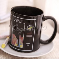 Tetris Pattern Magical Heat Sensitive Color Change Ceramic Coffee Mug Cup New