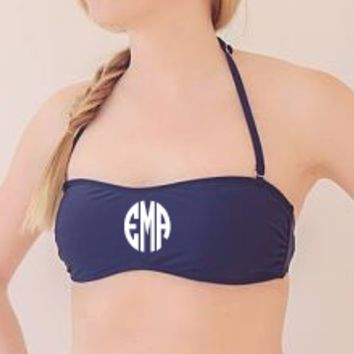 Navy Bandeau Bathing Suite Top