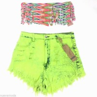 NEW! High Waist Acid Wash Lime Festival Destroyed Shorts Made in USA S-M-L