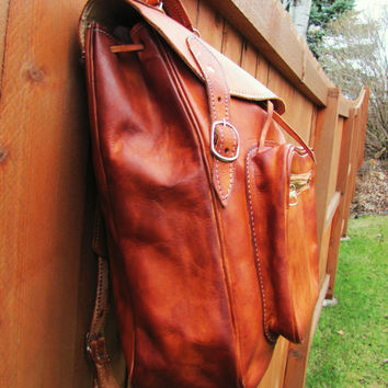rustic western cognac leather backpack. hipster rustic backpack. 1990