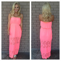 Keepsake Lace Strapless Maxi Dress - NEON PINK