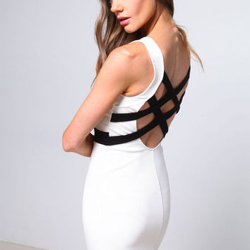 STRAPPY BACK CONTRAST DRESS