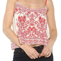 Fine China Scarf Print Crop Top - Red