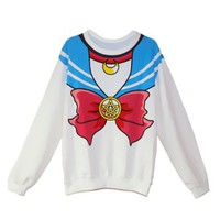 Sailor Moon Harajuku Sweater Cute Kawaii Cosplay Japan Anime White