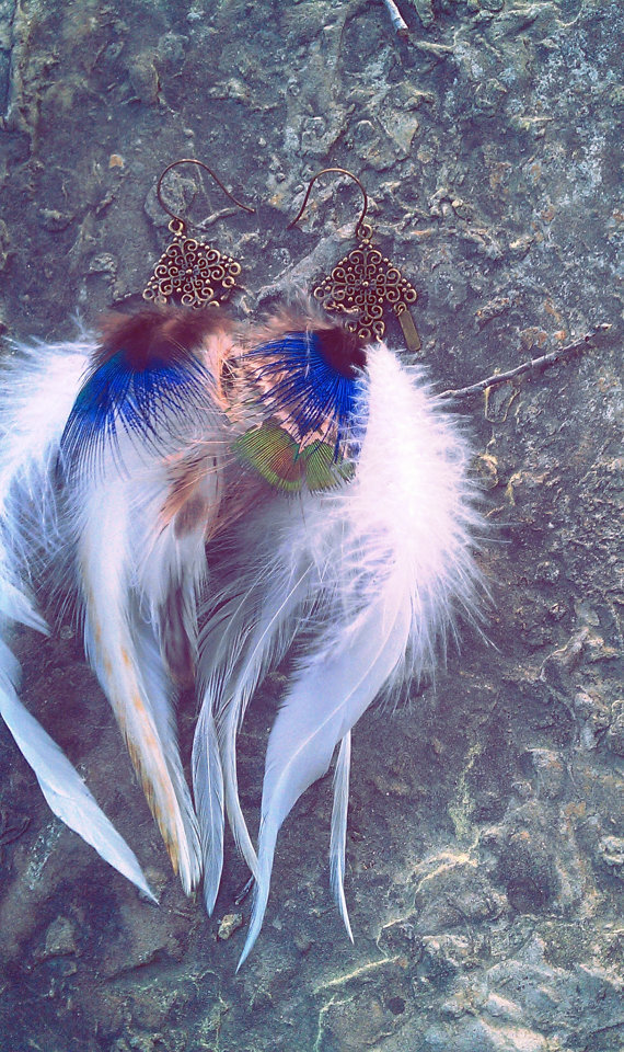 Seven Foxes feather & antiqued brass earring pair by pareket
