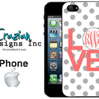 Monogram iPhone 5S Case - Polka Dot iPhone 5C Case - iPhone Case - Monogrammed iPhone 5 Case - iPhone 4 Case
