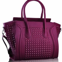 "Purple Grab Studded Ladies Tote Designer Handbag (13"" x 11"") with PreciousBags Dust Bag"