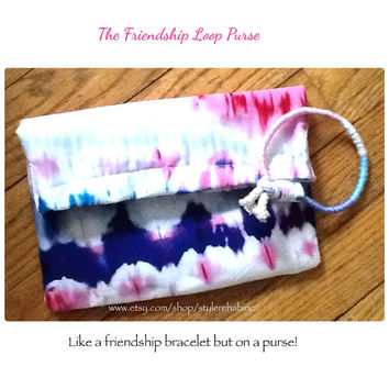 The friendship loop purse white with multicolor design little handbag fold over style clutch girls petite teen fashion