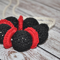 Nursing/Teething Necklace and Teething Ring- Red, Black, and Khaki- Eco Baby Teething- Eco Mom Jewelry