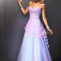 Cheap A-line Sweetheart Strapless Organza Evening Dress Prom Gown With Beading And Ruffles