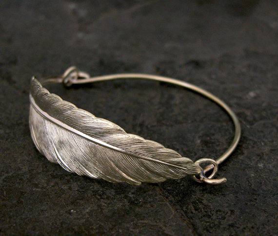 $50.00 Silver Feather Bracelet Unique Made to Order by gazellejewelry
