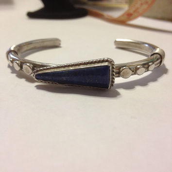 Lapis Sterling Cuff Roger Skeet RS Bracelet Navajo 31 grams Blue Lazuli Stone Silver 925 Vintage Navajo Southwestern Native USA Gift Jewelry