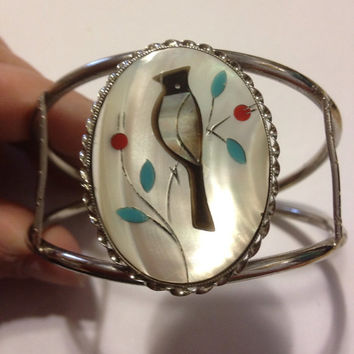 Navajo Turquoise Bird Cuff MOP Coral Onyx Inlay Silver Bracelet Cardinal Native American Vintage Jewelry Gift Southwestern Mother of Pearl