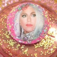Lady Gaga Glitter Queen Sparkle Pin