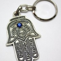 Evil Eye Protection Hamsa Hand Charm Israel SHADDAI Jewish Gift Key Chain w/ Travelers Prayer