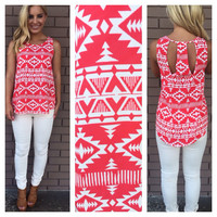 Angel of War Print Top - Red