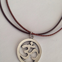 Om Necklace on Double Leather Cord / Yoga Inspired Jewelry / Clarity / Peace / Breathe / Unisex / Men's necklace / Silver Om Symbol /