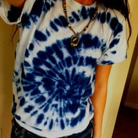 Hippie Spiral Blue and White Tie Dye T Shirt