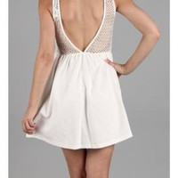 White Day Dress - V-Back Dress | UsTrendy