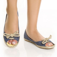 Angeles Isla Navy Peep Toe Canvas Deck Shoe Flats