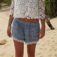 Cute Patterned Pom Pom Shorts - Loose Fit Navy Print with White pom pom's