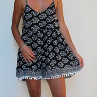 Pom Pom Jumpsuit / Playsuit, Short Beach Dress, Black & White Skort Shorts