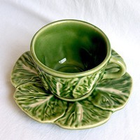 Vintage Bordallo Pinheiro Cabbage Demitasse Cup and Saucer | lilgreenshop - Collectibles on ArtFire