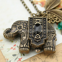 Vintage pocket watch necklace of antique bronze elephant by mosnos