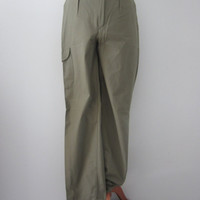 80s NOS Olive Green Slim Safari Pants by Silver Moon Collection, W30 L33 // Vintage High Waist Cotton Trousers // Deadstock w/ Original Tags