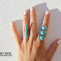 Spike Statement Ring - Boho Ring - Unique Turquoise Ring - Bohemian Rings - Hippie Ring - Boho Jewelry  by Tinybox12