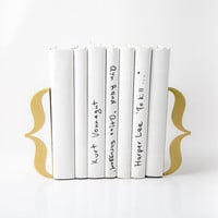 Bookends  - Brackets Gold metalic- laser cut for precision out of metal thick enough to hold a bunch of books.